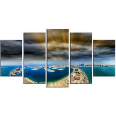 Designart Dubai Jumeirah Palm Aerial View SeascapeWrapped Canvas Art Print - 5 Panels
