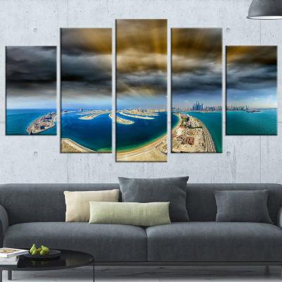 Designart Dubai Jumeirah Palm Aerial View SeascapeCanvas Art Print - 5 Panels