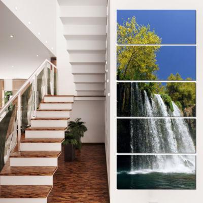 Designart Duden Waterfall Antalya Landscape PhotoCanvas ArtPrint - 4 Panels