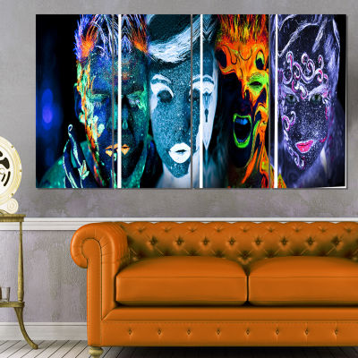 Designart Earth Fire Air And Water Abstract Portrait CanvasPrint - 4 Panels