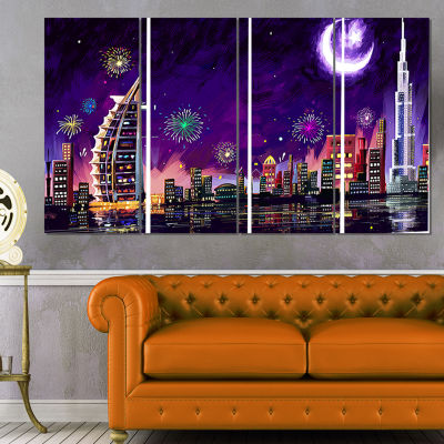 Designart Eid Celebration In Dubai Cityscape Digital CanvasPrint - 4 Panels
