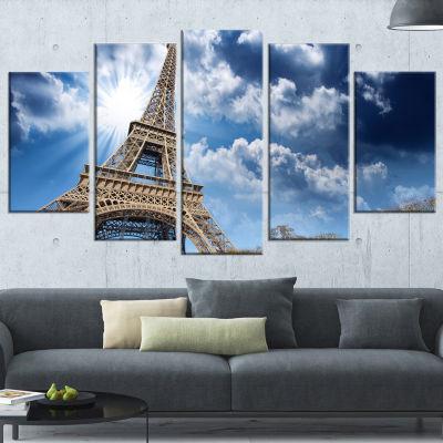 Designart Eiffel Under Blue Sky Large Skyline Photography Canvas Art - 5 Panels