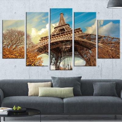Designart Eiffel With Winter Vegetation Skyline PhotographyCanvas Art - 4 Panels