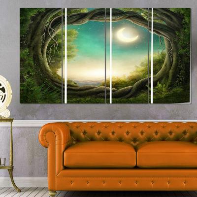 Enchanted Dark Forest Landscape Photography CanvasPrint - 4 Panels