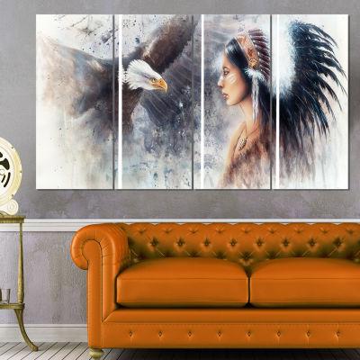 Enchanting Mystical Priestess Abstract Woman Canvas Art Print - 4 Panels