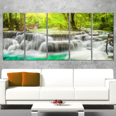 Designart Erawan Waterfall In Kanchanaburi Photography Canvas Art Print - 5 Panels