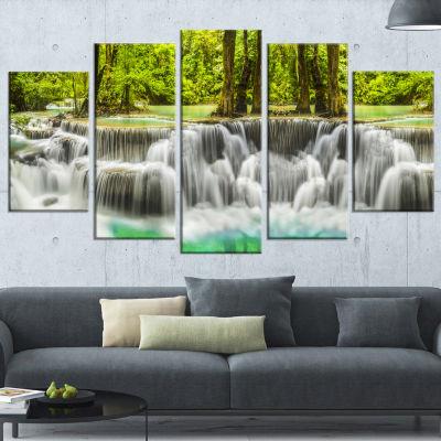 Designart Erawan Waterfall Kanchanaburi Province Wrapped Canvas Print - 5 Panels
