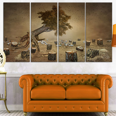 Designart Escape The Last Wood Abstract Print On Canvas - 4Panels