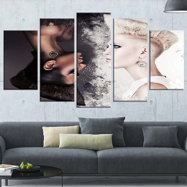 Designart Evil And Good Beautiful Women Portrait Canvas ArtPrint - 4 Panels