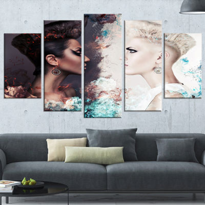 Designart Evil And Good Women Face To Face Portrait WrappedCanvas Art Print - 5 Panels