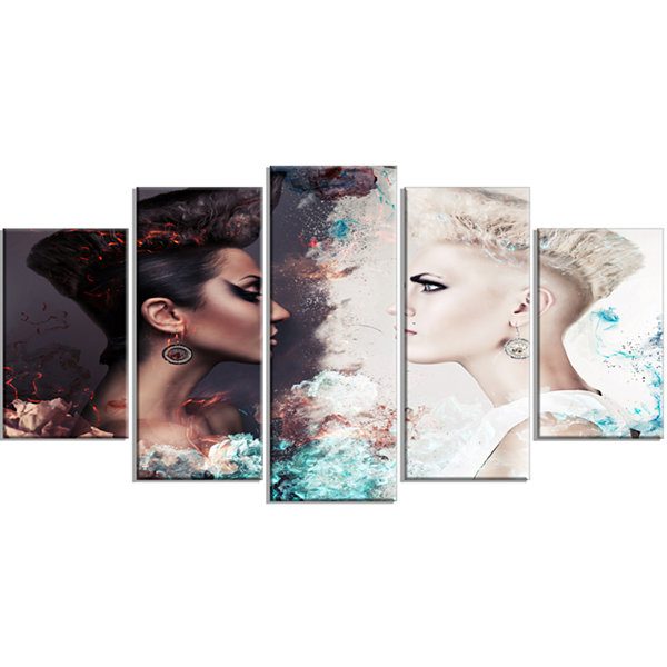 Designart Evil And Good Women Face To Face Portrait Canvas Art Print - 5 Panels