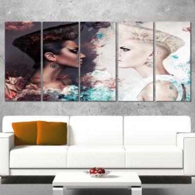 Designart Evil And Good Women Portrait Canvas ArtPrint - 5Panels