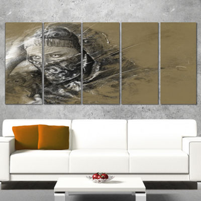Designart Exotic Arabic Woman Abstract Portrait Canvas Print- 5 Panels