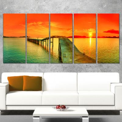 Designart Fabulous Sunset Panorama Photography Seascape Canvas Print - 4 Panels