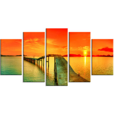 Fabulous Sunset Panorama Photography Seascape Wrapped Canvas Print - 5 Panels