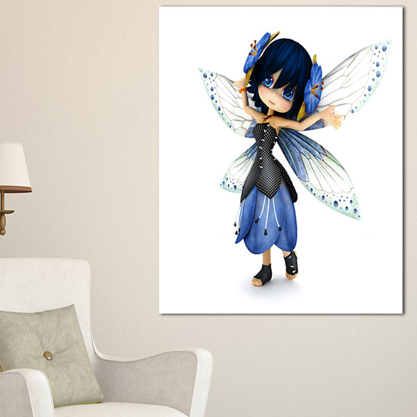 Designart Fairy Blue Woman With Wings Abstract Portrait Canvas Art Print - 4 Panels