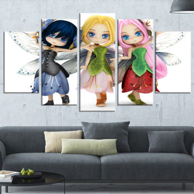 Designart Fairy Friends Posing Together Abstract Portrait Canvas Art Print - 4 Panels