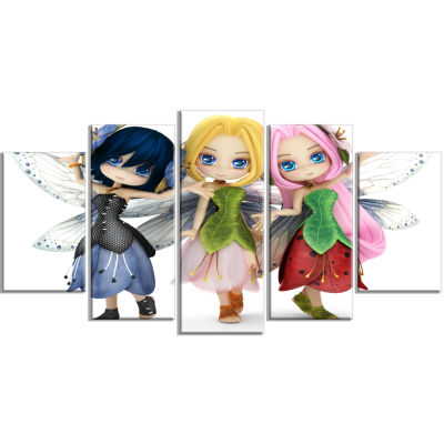 Fairy Friends Posing Together Abstract Portrait Canvas Art Print - 5 Panels