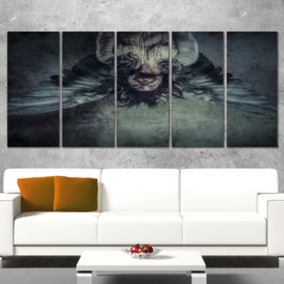 Designart Fallen Angel Of Death Abstract PortraitCanvas Print - 5 Panels