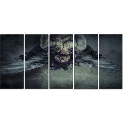 Fallen Angel Of Death Abstract Portrait Canvas Print - 5 Panels