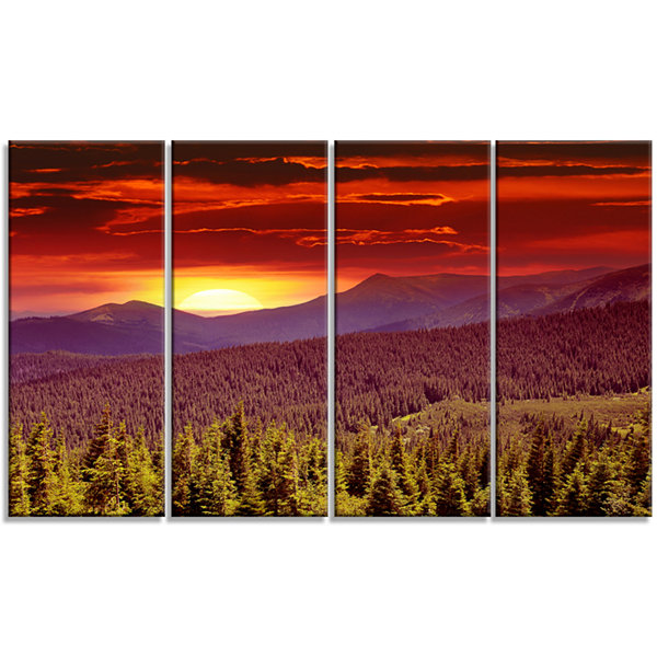 Designart Fantastic Sunrise In Mountains LandscapePhotography Canvas Print - 4 Panels