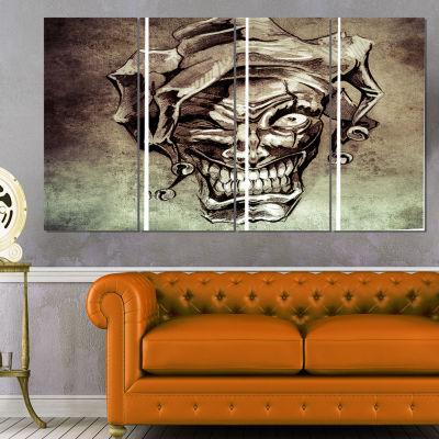Fantasy Clown Joker Tattoo Sketch Abstract Print On Canvas - 4 Panels