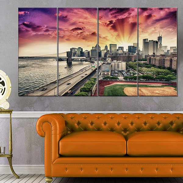 Designart Fdr Drive And Manhattan Skyline Cityscape Photo Canvas Print - 4 Panels