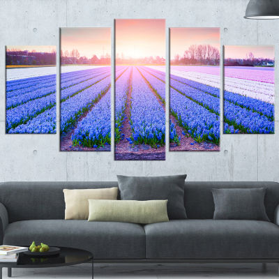 Designart Field Of Blooming Hyacinth Flowers Abstract CanvasArtwork - 4 Panels