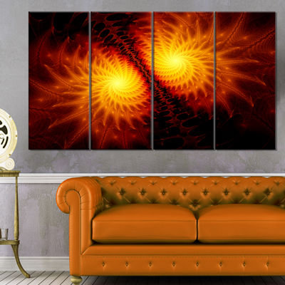 Designart Fiery Wings Of Dragon Abstract Canvas Art Print -4 Panels