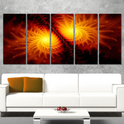 Designart Fiery Wings Of Dragon Abstract Canvas Art Print -5 Panels