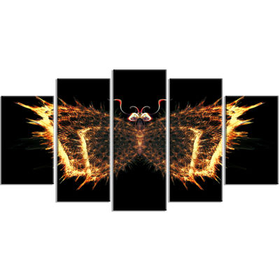 Designart Fire Fractal Butterfly In Dark AbstractCanvas ArtPrint - 5 Panels