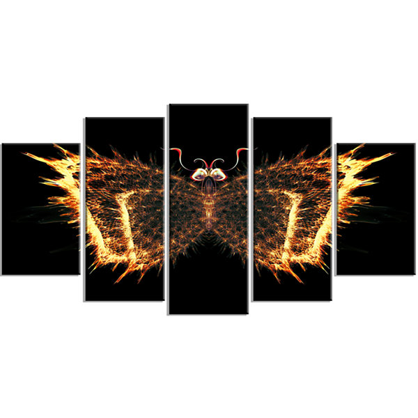 Designart Fire Fractal Butterfly In Dark Contemporary CanvasArt Print - 5 Panels