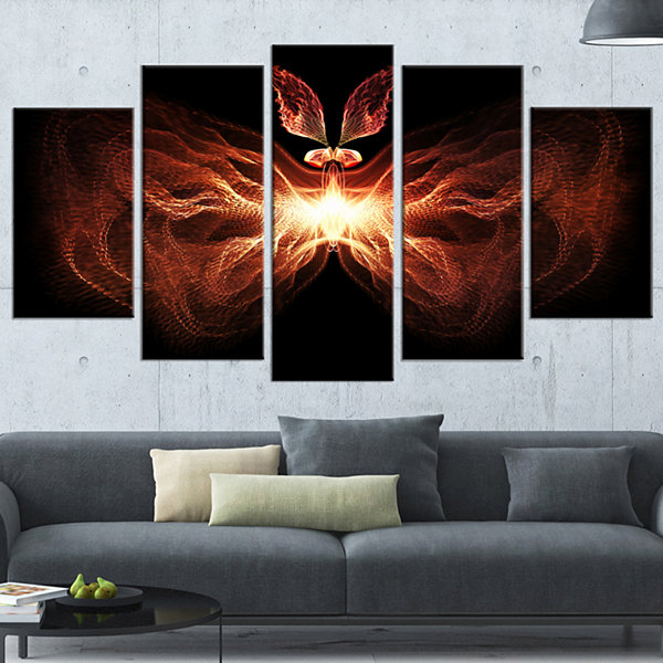 Designart Fire In Middle Fractal Butterfly Abstract Canvas Art Print - 5 Panels
