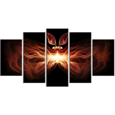 Designart Fire In Middle Fractal Butterfly Contemporary Canvas Art Print - 5 Panels