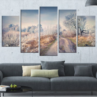 Designart First Frost In Forest Landscape Photography Wrapped Canvas Art Print - 5 Panels