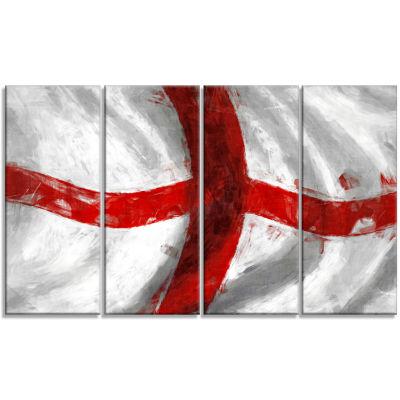 Flag Of England Contemporary Canvas Art Print - 4Panels