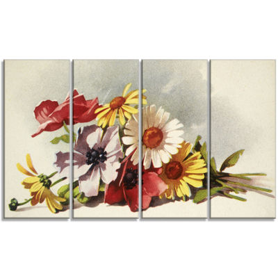 Designart Flowers Illustration Floral Canvas WallArt - 4 Panels