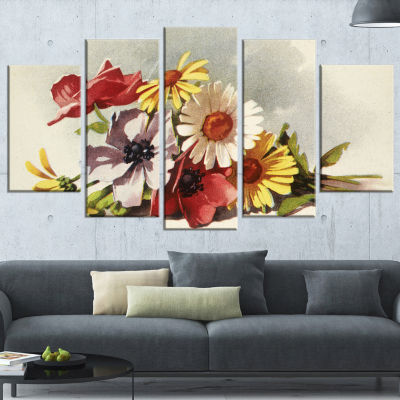 Designart Flowers Illustration Floral Canvas WallArt - 5 Panels