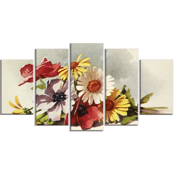 Designart Flowers Illustration Large Floral CanvasWall Art- 5 Panels
