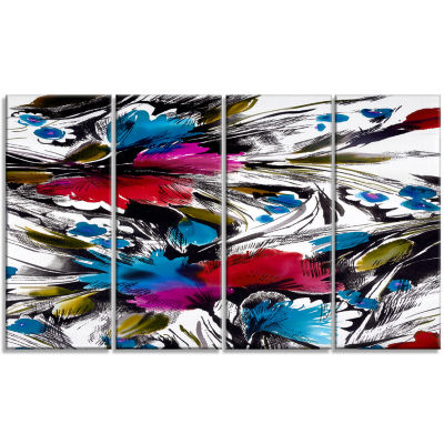 Flowers With Fusion Of Colors Abstract Canvas ArtPrint - 4 Panels
