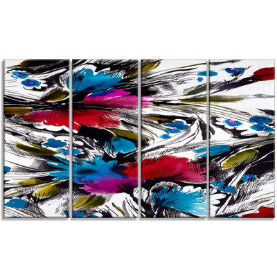 Designart Flowers With Fusion Of Colors Abstract Canvas ArtPrint - 4 Panels