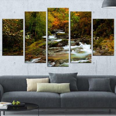 Designart Flowing River In Autumn Landscape Photography Wrapped Canvas Print - 5 Panels