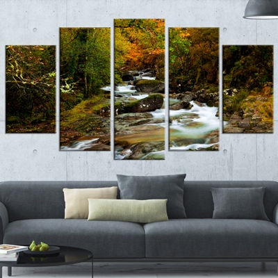 Designart Flowing River In Autumn Landscape Photography Canvas Print - 5 Panels