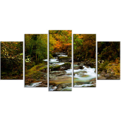 Flowing River In Autumn Landscape Photography Canvas Print - 5 Panels