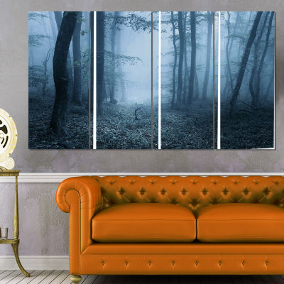 Designart Foggy Spring Forest Landscape Photography Canvas Art Print - 4 Panels