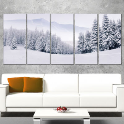 Designart Foggy Winter Mountain And Trees Landscape Photography Canvas Print - 4 Panels