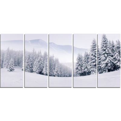 Foggy Winter Mountain And Trees Landscape Photography Canvas Print - 5 Panels