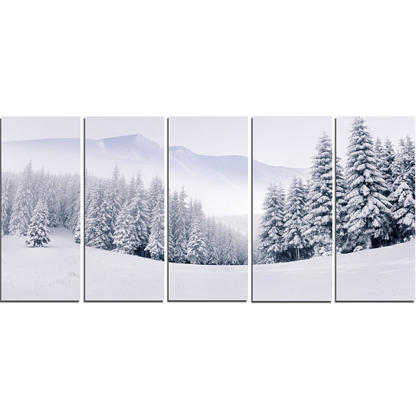 Designart Foggy Winter Mountain And Trees Landscape Photography Canvas Print - 5 Panels