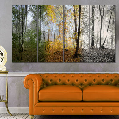 Designart Forest In Early Morning Landscape Photography Canvas Print - 4 Panels