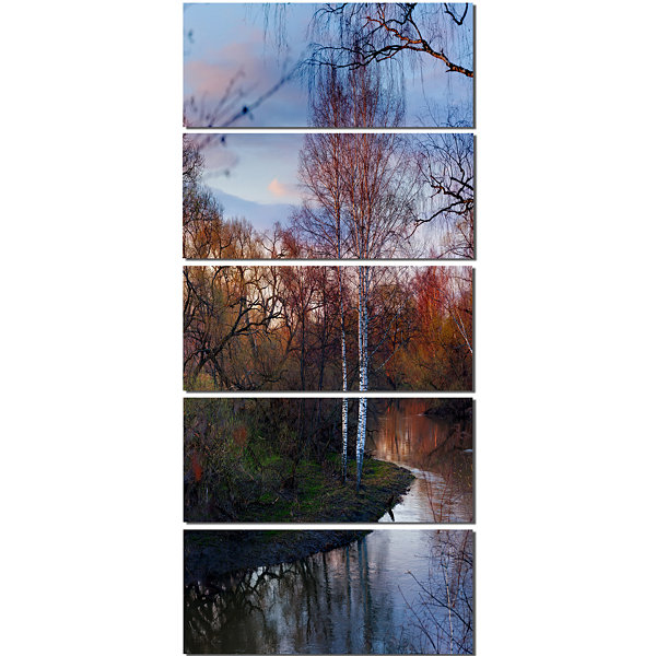 Designart Forest River In The Spring Landscape Photo CanvasArt Print - 5 Panels